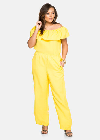 Ruffle Off-Shoulder Linen Jumpsuit