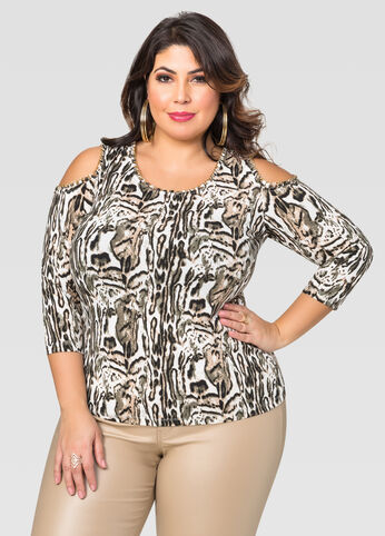 Chain Cold Shoulder Top
