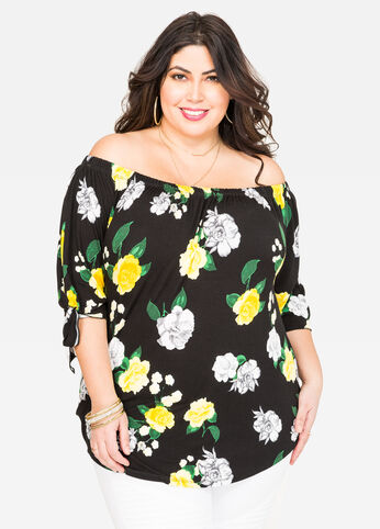 Floral Tie Sleeve Marilyn Top