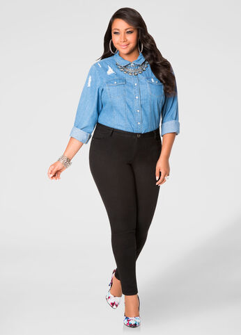 Buy Womens Plus Size Black Skinny Jeans - Ashley Stewart