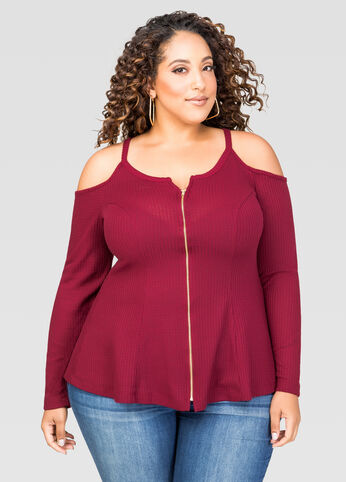 Zip Front Cold Shoulder Top