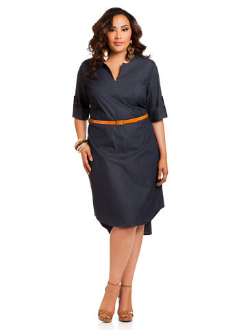 Belted Denim Shirtwaist Dress