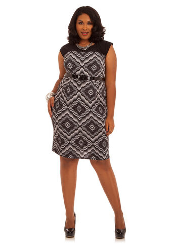 Belted Capsleeve Geometric Print Dress