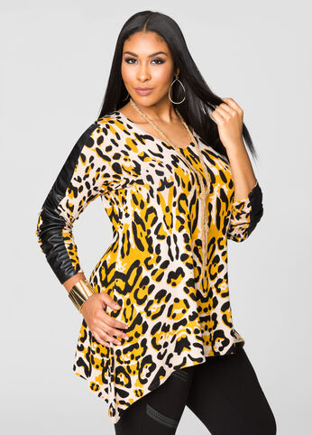 Animal Print Faux Leather Sharkbite Sweater