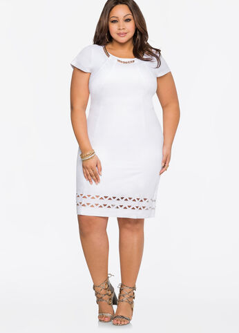 Chainlink Cut-Out Linen Dress