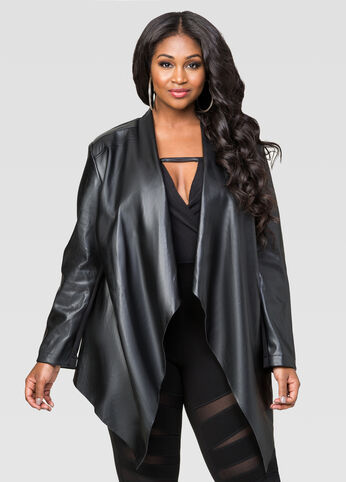 Faux Leather Cascade Collar Jacket
