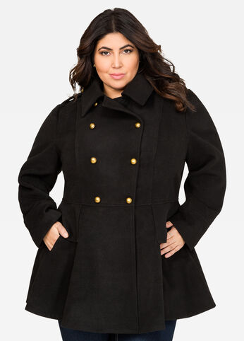 Double Breasted Military Peplum Coat