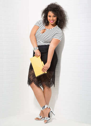 Ashley Stewart Plus Size Lace Skirt Outfit