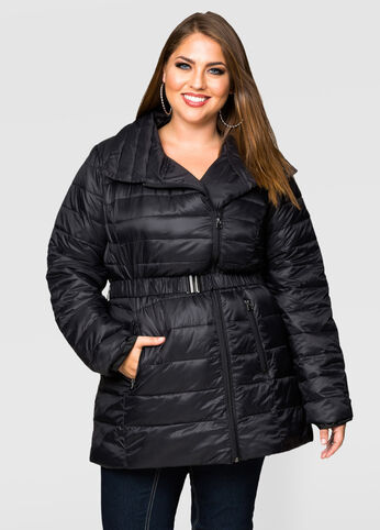 Packable Belted Puffer Jacket