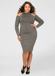 Metallic Cold Shoulder Bodycon Sweater Dress