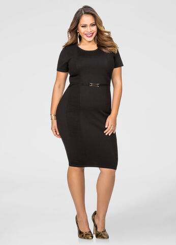 Ribbed Panel Bodycon Sweater Dress