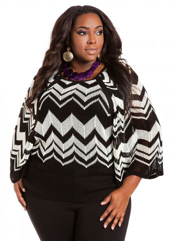 Striped Batwing Sweater