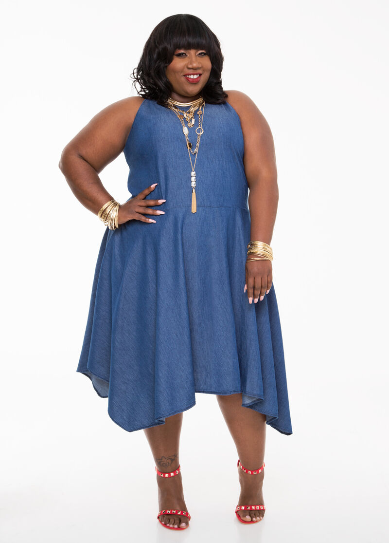 Hanky Hem Denim Dress-Plus Size Dresses-Ashley Stewart-010-PA4387X
