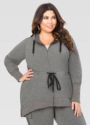 Hooded Hi-Lo Drawstring Active Jacket