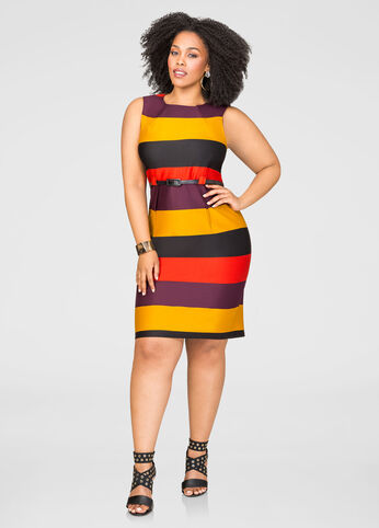 Bold Stripe Belted Sheath Dress