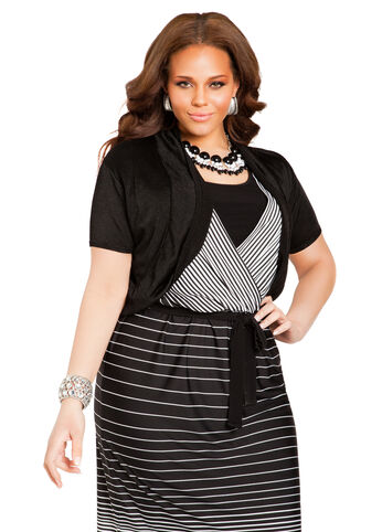 Short Sleeve Solid Crop Shrug