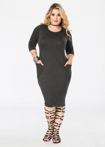 Deep Drape Pocket Midi Dress