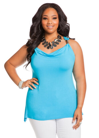 Sleeveless Drape Top with Hardware