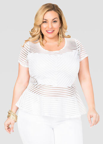 Shadow Stripe Peplum Top