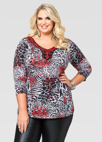 Mixed Animal Print Bling Top