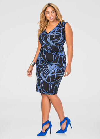 Status Print V-Neck Ruched Side Dress