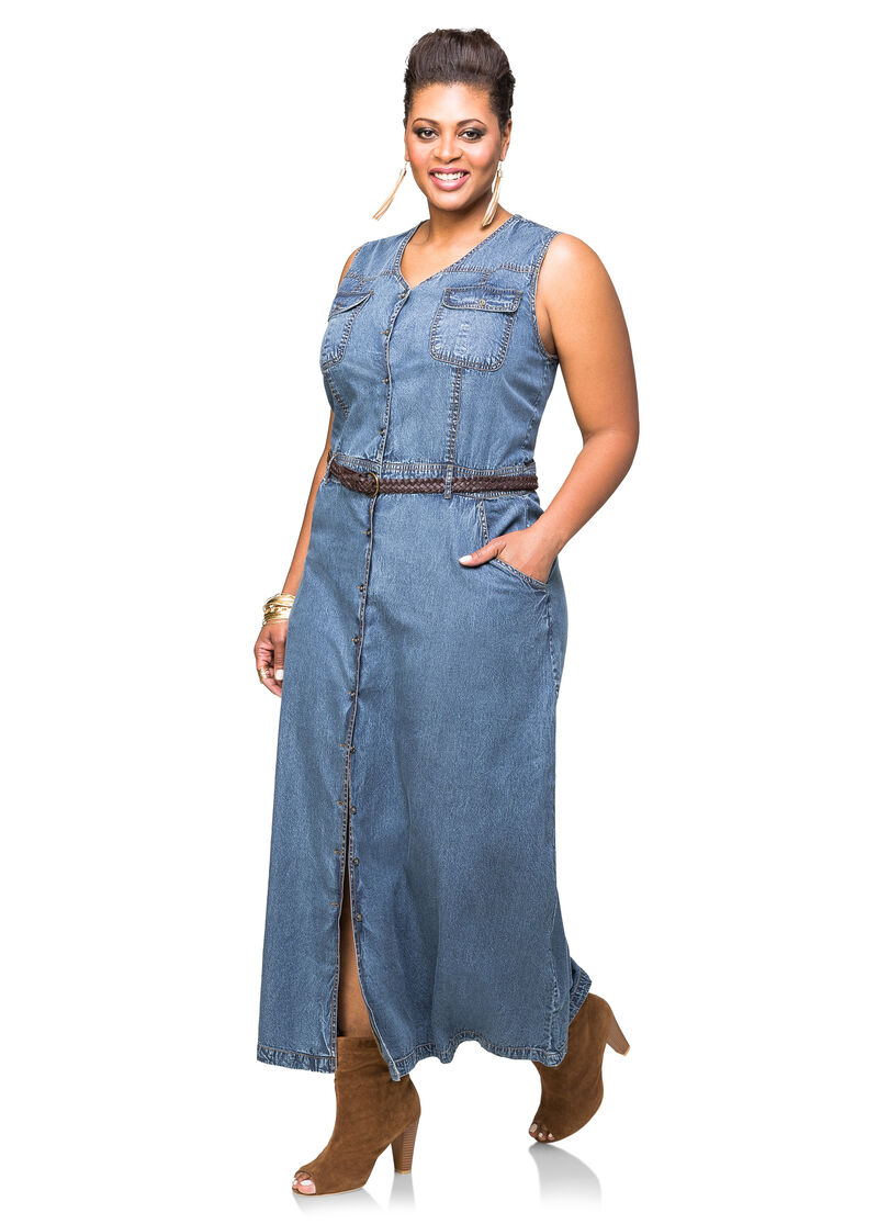 Belted jean maxi dress plus size dresses ashley stewart for Ashley stewart wedding dresses