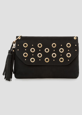 Grommet Chain Link Crossbody Bag