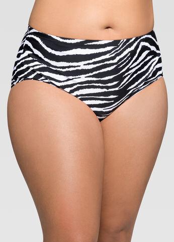 Zebra Print High Waist Bikini Bottom