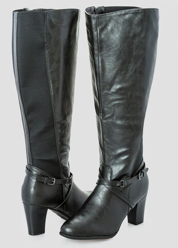 Slim Buckle Chunky Heel Tall Boot - Wide Width Wide Calf
