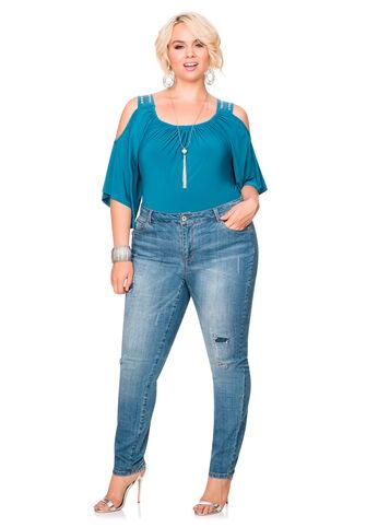 Embellished Destructed Skinny Jean