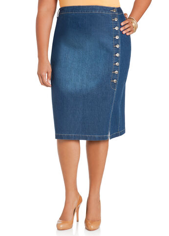 Side Button Denim Skirt
