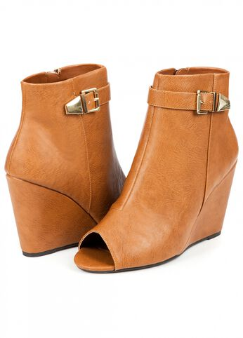 Peep Toe Buckle Bootie