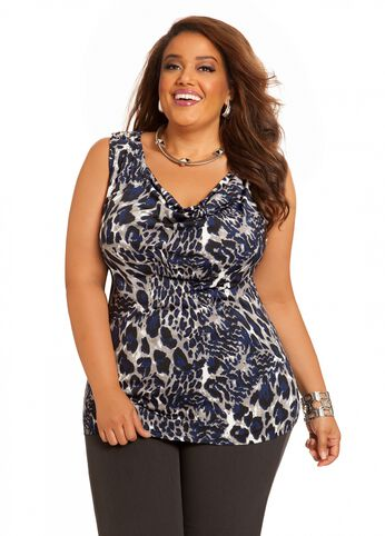 Animal Print Chain Detail Top