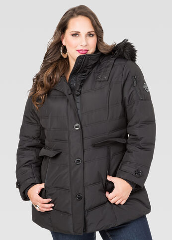 Faux Fur Trim Puffer Winter Coat