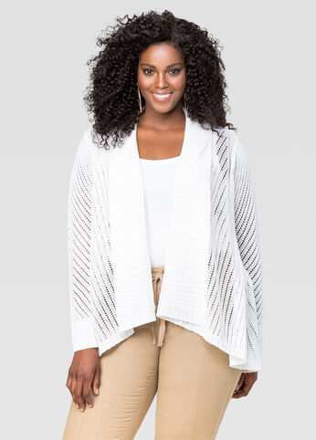 Open Front Pointelle Cardigan