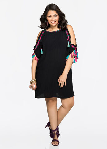 Embroidered Gauze Cover-Up Dress