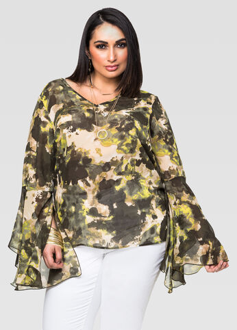 Camo Bell Sleeve Blouse
