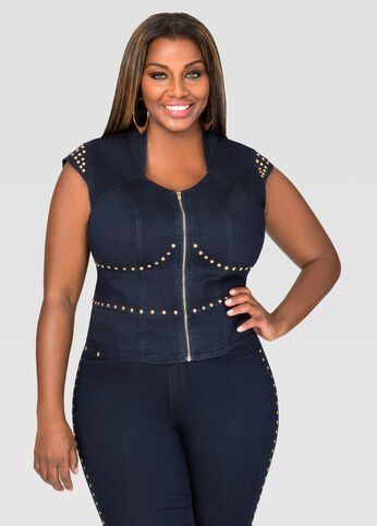 Gold Stud Denim Vest
