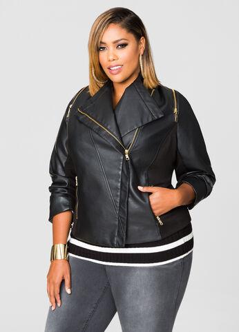 Asymmetrical Zip Shoulder Moto Jacket