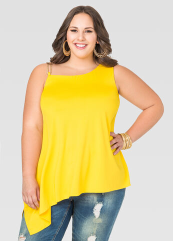 Solid One Shoulder Hardware Top