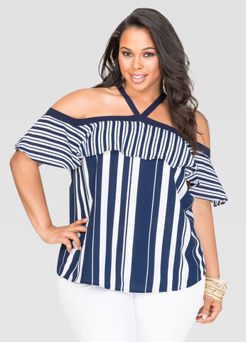 Striped Off-Shoulder Halter Blouse