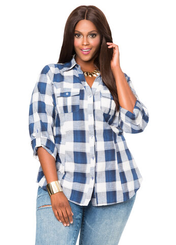 Plaid Cinch Back Shirt