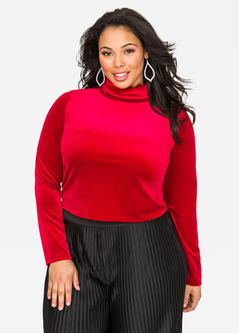 Mock Neck Velvet Crop Top