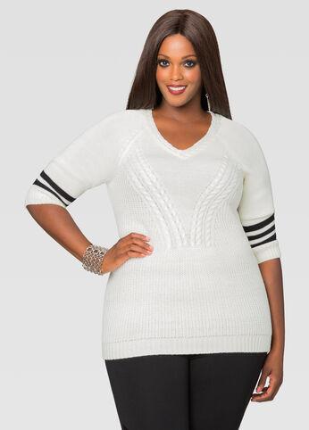 Elbow Sleeve Varsity Sweater