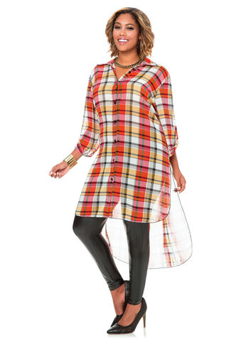 Sheer Plaid Hi-Lo Duster