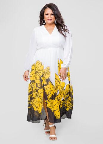 Floral Double Slit Maxi Dress