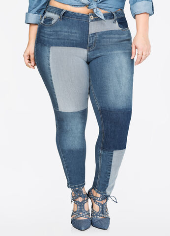 Reverse Patchwork Skinny Jean