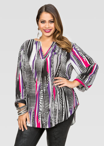 V-Neck Geo Print Blouse