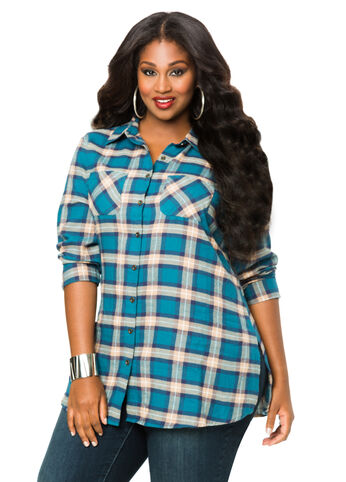 Flannel Plaid Tunic Shirt