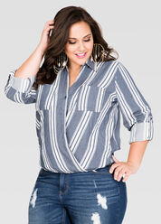 Striped Crossover Denim Shirt